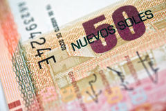 Peruvian Currency. Peruvian paper notes, Nuevos Soles currency from Peru Royalty Free Stock Photo