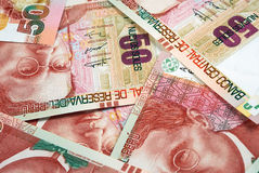 Peruvian Currency. Peruvian paper notes, Nuevos Soles currency from Peru Royalty Free Stock Images