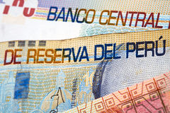 Peruvian Currency. Peruvian paper notes, Nuevos Soles currency from Peru Stock Image