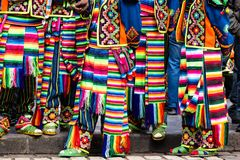 Peruvian dancers at the parade in Cusco. Royalty Free Stock Image