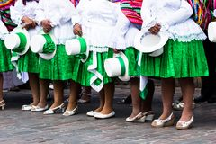 Peruvian dancers at the parade in Cusco. Royalty Free Stock Photography