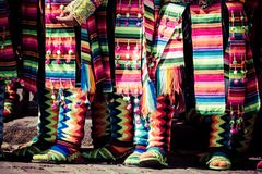 Peruvian dancers at the parade in Cusco. Royalty Free Stock Images