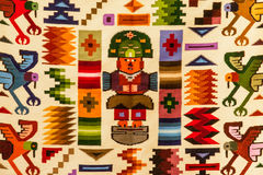 Peruvian design. Fabric with traditional Peruvian design elements, Sacred Valley, Andes Royalty Free Stock Images
