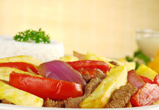 Peruvian Dish Called Lomo Saltado Royalty Free Stock Photo