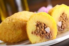 Peruvian Dish Called Papa Rellena (Stuffed Potato) Royalty Free Stock Photo