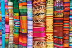 Peruvian Fabric. For sale in a marketplace stock photo
