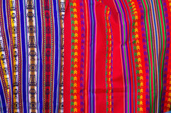 Peruvian Fabrics. Typical Bolivian/Peruvian fabrics with Inca traditional ornaments Stock Photography