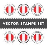 Peruvian flag rubber stamps set. National flags grunge stamps. Country round badges collection Royalty Free Stock Images