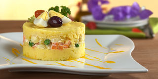 Peruvian Food Called Causa Royalty Free Stock Photo