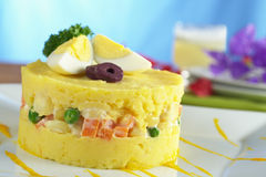 Peruvian Food Called Causa Royalty Free Stock Image