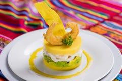 Peruvian food: Causa, comida peruana. Typical food of Peru made with potatoes royalty free stock photos
