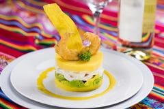 Peruvian food: Causa, comida peruana. Typical food of Peru made with potatoes stock photo