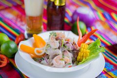 Peruvian food: Fish ceviche stock images