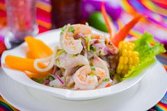Peruvian food: Fish ceviche. A delicious Peruvian ceviche made with fish and lemon royalty free stock image