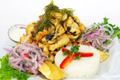 PERUVIAN FOOD: fried FISH MEAL CHICHARRON Stock Image