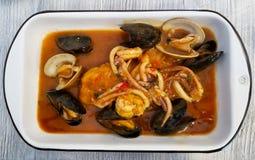 PERUVIAN FOOD: Lunch Picante de Mariscos. Fish peruvian dish Royalty Free Stock Photo