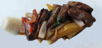 Peruvian food. Meat and potatoes prepared as a peruvian food Stock Image