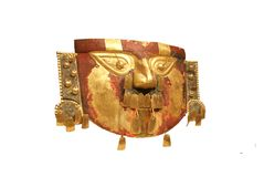 Peruvian Funerary mask, hammered gold from Peru Stock Image