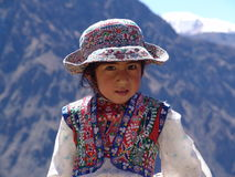 Peruvian Girl. A girl from the Colca Canyon region of Peru wearing traditional dress - August, 2009 Stock Photos