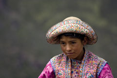 Peruvian Girl. This is a little peruvian girl from Colca Valley suitable for printing in travel sites, magazines and articles Royalty Free Stock Images