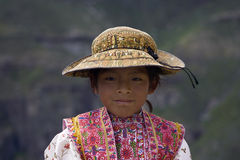 Peruvian Girl. This is a little peruvian girl from Colca Valley. Image is suitable for travel magazines, blogs and other media Stock Photography