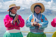 Peruvian girls singing Stock Images