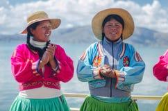Peruvian girls singing Stock Images