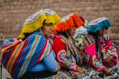 Peruvian girls. Wearing typical costumes royalty free stock image