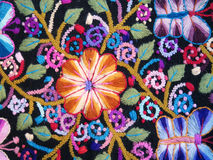 Peruvian hand made flower woolen fabric stock photography