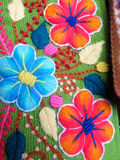 Peruvian hand made flower woolen fabric royalty free stock photos