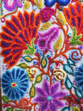 Peruvian hand made flower woolen fabric Royalty Free Stock Images