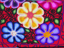 Peruvian hand made flower woolen fabric Royalty Free Stock Image