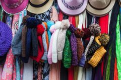 Peruvian hats and scarves. On a street market royalty free stock photos