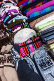 Peruvian hats and socks. In a street market royalty free stock photography