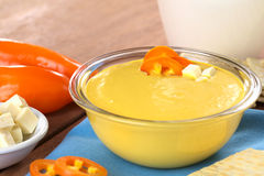 Peruvian Huancaina Sauce. (spicy cheese sauce) made of cheese, soda crackers, aji (Peruvian yellow chili pepper) and milk in a glass bowl (Selective Focus Stock Photo
