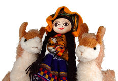 Peruvian Indian doll and llamas Royalty Free Stock Photo