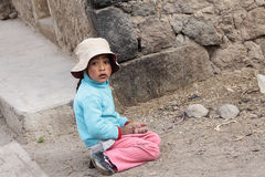 Peruvian little girl very poor but happy Stock Photography