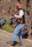 Peruvian Man Playing the Flute. A Peruvian man, in traditional attire, playing the flute in the Andes Mountains of Peru royalty free stock photos