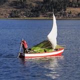 Peruvian man sails by boat. Stock Image