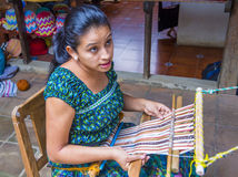 Peruvian man weaving Royalty Free Stock Image