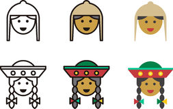Peruvian man and woman icons. Illustrated set of Peruvian man and woman icons in traditional folk costume Stock Photos