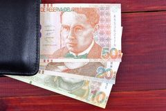 Peruvian money in the black wallet Stock Photography