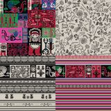 Peruvian motifs. 4 Seamless background. 4 background with patterns, figures, colors symbolizing Peruvian folklore. Rock paintings, ornaments, decorative Stock Image