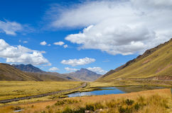Peruvian mountain landscape on the first day of summer. The Peruvian Altiplano (high plains) and Andes mountains between Puno and Cusco stock photo