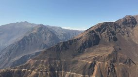 Peruvian mountains by day. Magnificent Peruvian mountains panorama at Colca river canyon by sunny day stock video footage