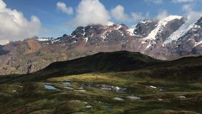 Peruvian mountains panorama. Magnificent Peruvian mountains panorama at Ausangate trek by sunny day stock footage