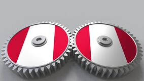 Peruvian national project. Flags of Peru on moving cogwheels. Conceptual animation