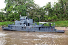 Peruvian Navy Ship. IQUITOS, PERU - OCTOBER 11, 2015: Peru Navy Ship. A gun boat moored on the Itaya River, in the Peruvian Amazon Stock Photos