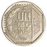 1 Peruvian nuevo sol coin. Isolated on white background royalty free stock photo