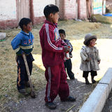 Peruvian peasant children Royalty Free Stock Photography